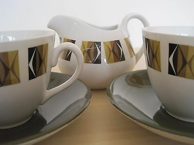 1960s Vintage Retro Ridgway Potteries Ravenna Pattern Cups Saucers and Jug Set