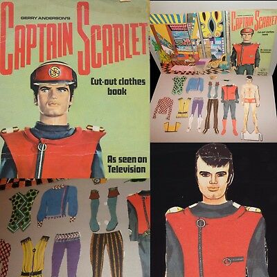 1967 Gerry Anderson CAPTAIN SCARLET AND THE MYSTERONS cut out clothes book L@@K