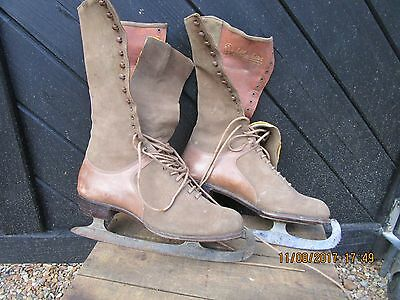 Antique Edwardian Leather and Moleskin Ice skates made by Lillywhites in VGC