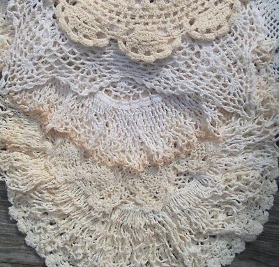"Big Vintage Doily Lot of 16 Hand Crochet WHITE & OFF WHITE DOILIES 7"" to 14""  NR"