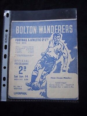 BOLTON WANDERERS - LIVERPOOL FC  1949/50   Division 1 / Orig.Programme  !!  RARE