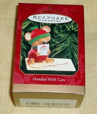 Hallmark Keepsake Ornament ~ Handled With Care ~ Mouse Licking Stamp ~ 1999 *new