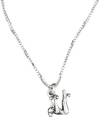 Uneven Bars Gymnast Pendant Necklace Sterling Silver 18 Inch Box Chain Sport