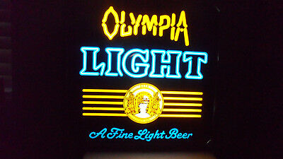 Rare Olympia Light Lighted Hanging Beer Sign   17""