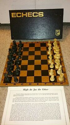 ANTIQUE  CHESS   FRENCH  + BOX & NICE FOLDING Board+INSTRUCTIONS