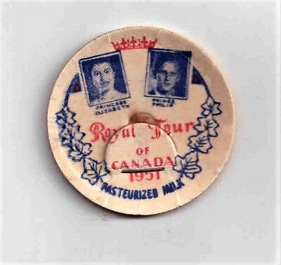 MILK CAP - ROYAL TOUR OF CANADA (1951) PRINCESS ELIZABETH - Standard Size, Used