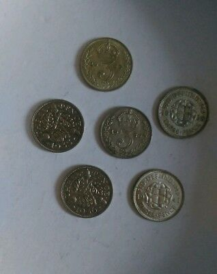 1920-1941. Sterling Silver 3 pence Coins