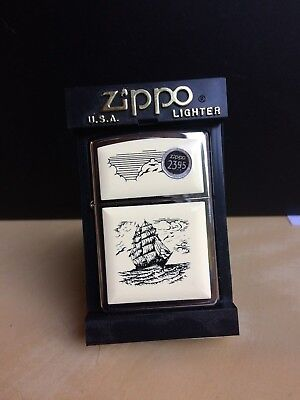 Scrimshaw Sailing Ship Zippo Lighter 2001, item 369 Hard to find version