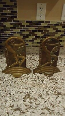 Vintage Art Deco Nude Lady With Leaf Bookends