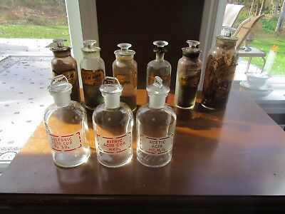 9 - ANTIQUE MEDICINE APOTHECARY BOTTLES GOLD LABEL UNDER GLASS DRUG STORE Jars
