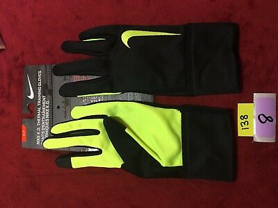 New NIKE K.O THERMAL TRAINING GLOVES SIZE Small S Touch Screen Yellow Black