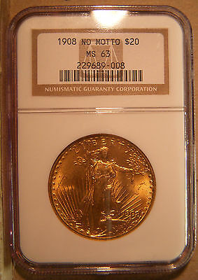 1908 $20 Gold Double Eagle NGC MS63 No Motto Saint Gaudens