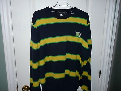 L-R-G Men's Crewneck Pullover Sweater 2XL Navy Yellow Green Striped