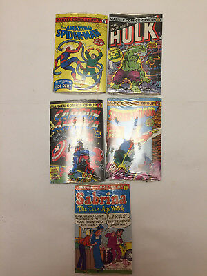 Vtg Comics Bubble Funnies Lot of 5 Hulk, Spiderman, Sabrina, Capt America Sealed