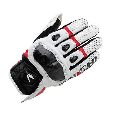 Red+White M  NRS Taichi RST410 Mens Perforated leather Motorcycle Mesh Gloves