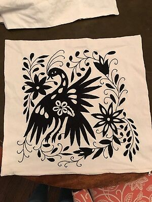 Mexican Otomi Pillow Covers Black Embroidered. New, Authentic! Set Of 2