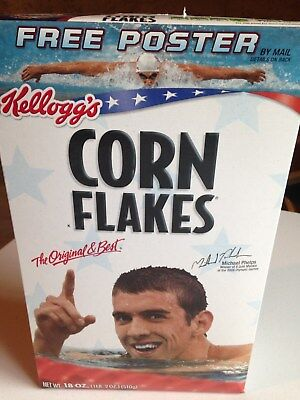 Kellogg's CORN FLAKES 18 oz Cereal Box 2008 MICHAEL PHELPS Sealed EXCELLENT