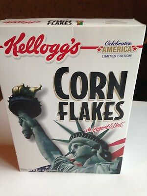 Kellogg's CORN FLAKES 18 oz Cereal Box CELEBRATE AMERICA  Sealed EXCELLENT