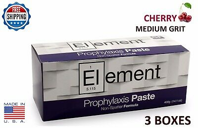 Element Prophy Paste Cups Cherry Medium 200/box  Dental W/fluoride - 3 Boxes