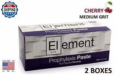 2 Boxes Element Prophy Paste Cups Cherry Medium 200/box  Dental W/fluoride
