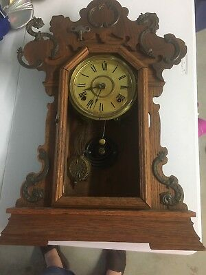 Antique-Seth Thomas Wood Clock-for Parts-or To Restore-numbered #298 With Key