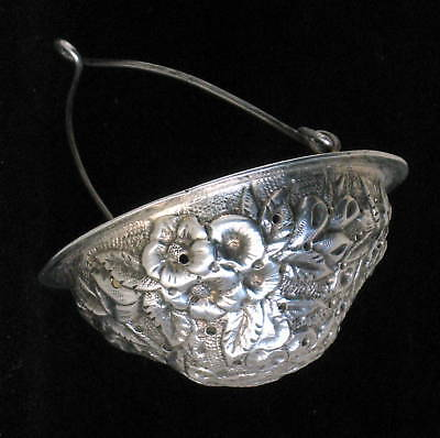 Rare American sterling/coin silver Baltimore pattern Kirk(?) basket tea strainer