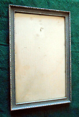 """1910s-1930s Art Deco Wood Gesso Silver Tone Frame w/ Glass ~ holds 13"""" x 8"""" pic"""
