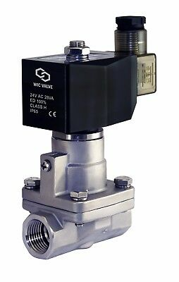 """1/2"""" Inch High Pressure Stainless Steel Steam Solenoid Process Valve 24V AC PTFE"""