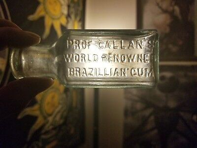 Prof Callan's World Renowned Brazillian Gum Antique Aqua bottle 1895-1890
