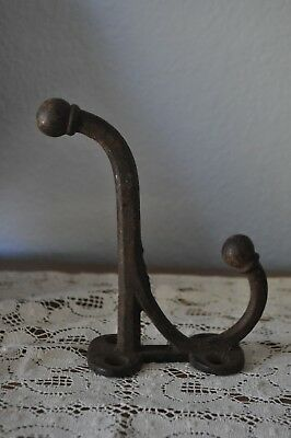5 1/4 old Coat Tack Harness  Hook vintage black paint Cast Iron