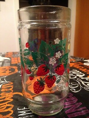 Vintage S/4 Jelly Jam Jars Strawberry Blueberry Butterfly Large Drinking Glasses