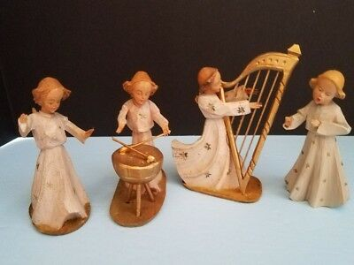 Oberammergau Hand Carved & Painted ANGELS Set of 4 US Zone Bavaria Germany AS IS