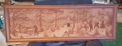 "Antique 14"" X 50"" WINTER Framed Tapestry w SKIERS & a Snowball Fight NEAT"