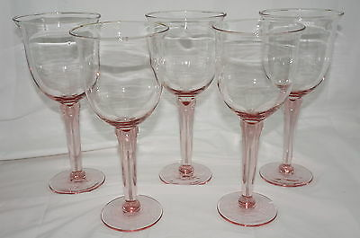 """Set of (5) Jumbo Pink Glass Goblets or Glasses, 9½"""" tall, 20 ounces"""