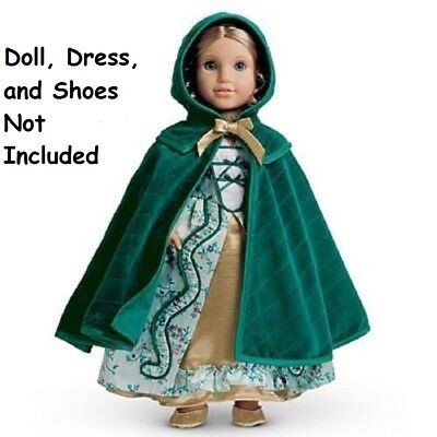 American Girl Elizabeth's Quilted Cloak NIB Retired Cards Hanger Green Gold XC0A