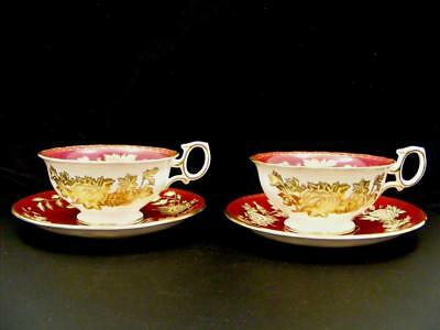 """2 Wedgwood """"tonquin Ruby"""" Cup & Saucer Sets"""