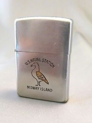 1958 Vintage Zippo - U.S. NAVAL STATION MIDWAY ISLAND. as-is nr