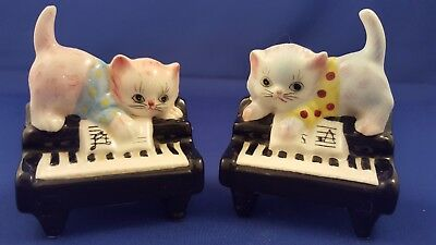 Vtg Lefton (Esd) Kitty Cats On Piano Salt Pepper Shakers Japan #7029 Evc