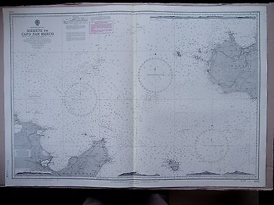 "1971 TUNISIA to SICILY Mediterranean Sea  Admiralty Chart MAP 28"" x 41"" C61"