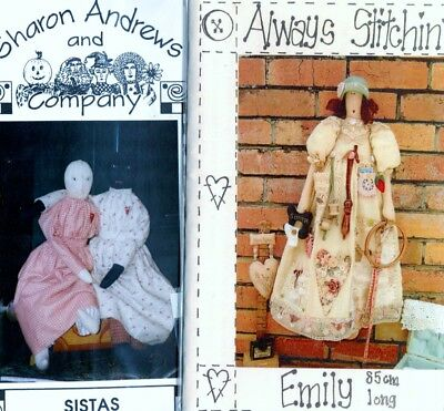 4 Cloth Doll Sewing Patterns, Emily, Sistas, This Buds for You, Fanny Fickleberr