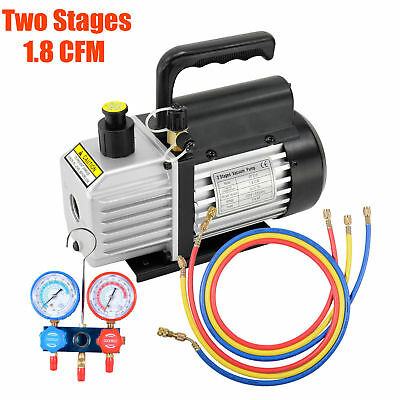 1.8CFM 2 Stage Refrigeration Vaccum Pump Manifold Gauges Air Conditioning R410A