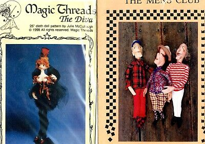 4 Cloth Doll Sewing Patterns, Snowflake, Mens Club, Diva, Lizzie goes Shopping