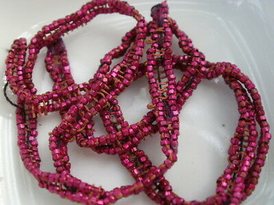 """Antique French Steel Cut Beads Metal Dark Pink Micro Faceted Seed Spacer 26"""""""