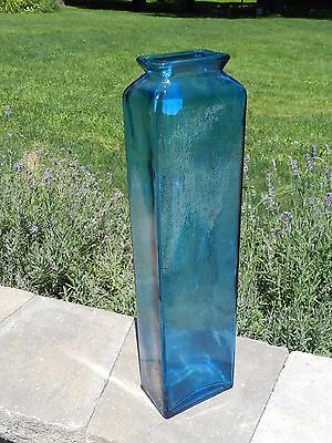"Tall Modern 21"" Turquoise Blue Art Recycled Glass Bottle Vase Carboy Spain"