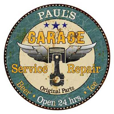 PAUL'S Garage Round Metal Sign Man Cave Home Wall Décor Gift R1402216