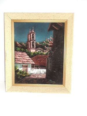 "Beautiful Vintage Original Mexican Painting On Velvet Signed Pena 14"" X 16,5"""
