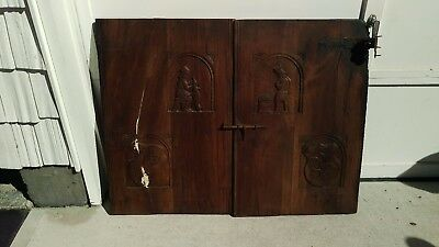 18th Century Hand Carved Oak Doors from Sideboard or Buffet Antique