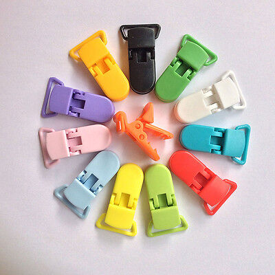 10PCS Randomly Color Plastic Pacifier Clips Soother Suspender Holder Baby Tools#
