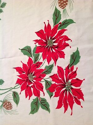 Vintage Red CHRISTMAS Bark Cloth 60x54 Rectangle TABLECLOTH table cloth