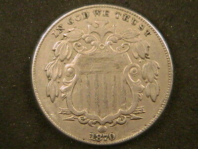 1870 Shield Nickel - FREE SHIPPING - VERY NICE better grade XF/AU!